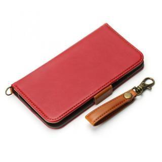 Premium Style 手帳型ケース PUレザーダメージ加工 ワインレッド iPhone X