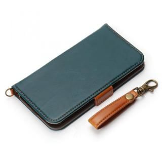 Premium Style 手帳型ケース PUレザーダメージ加工 ブルー iPhone X