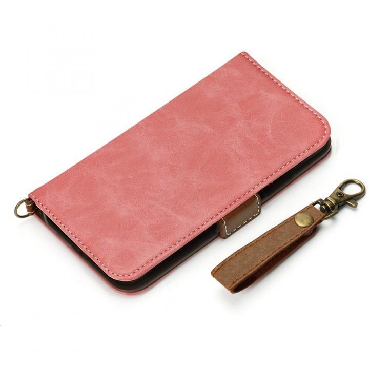 Premium Style 手帳型ケース PUレザーダメージ加工 ダスティピンク iPhone X