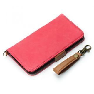 Premium Style 手帳型ケース PUレザーダメージ加工 ピンク iPhone X