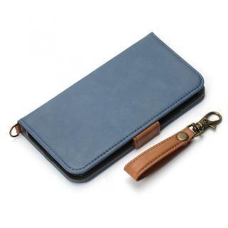 Premium Style 手帳型ケース PUレザーダメージ加工 ブルーグレー iPhone XS/X