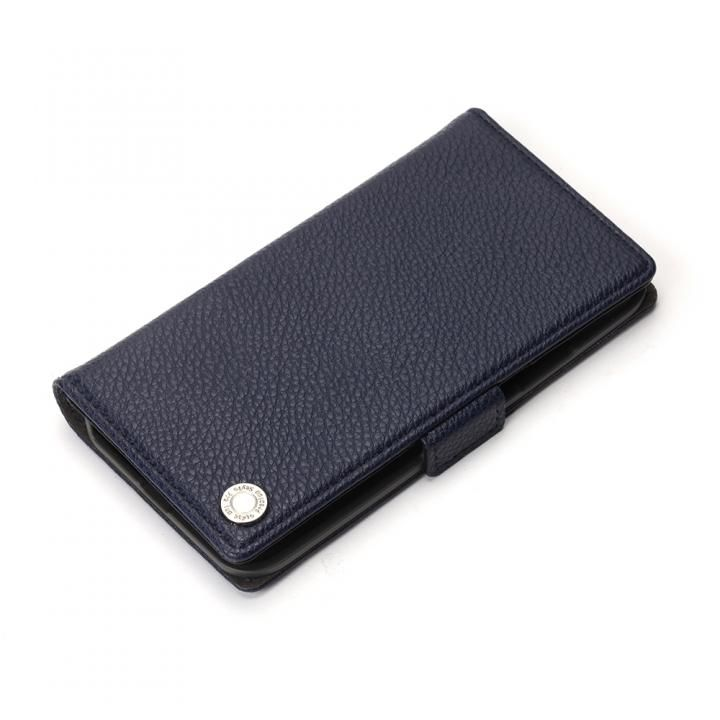 Premium Style 手帳型ケース エンボスPUレザー ネイビー iPhone X