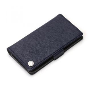 Premium Style 手帳型ケース エンボスPUレザー ネイビー iPhone XS/X