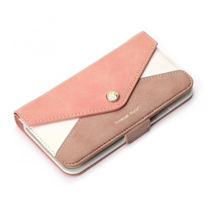 Premium Style 手帳型ケース 三角模様カードポケット ピンク iPhone X