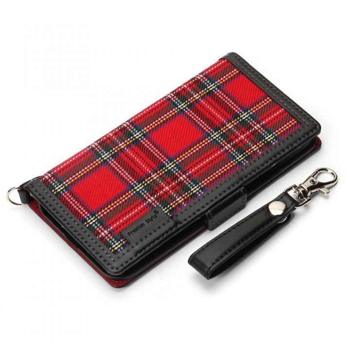 iPhone XS/X ケース Premium Style 手帳型ケース ファブリック生地  レッド iPhone XS/X_0