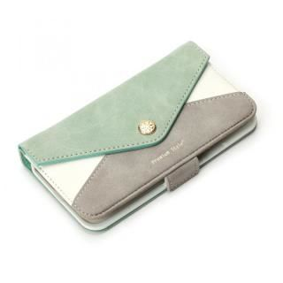 Premium Style 手帳型ケース 三角模様カードポケット グリーン iPhone XS/X
