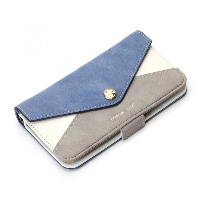 Premium Style 手帳型ケース 三角模様カードポケット ブルー iPhone XS/X