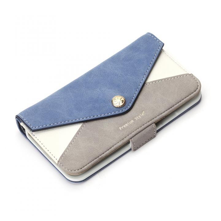 Premium Style 手帳型ケース 三角模様カードポケット ブルー iPhone X