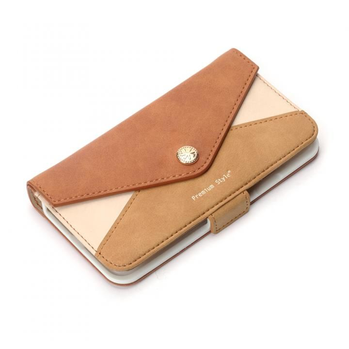 iPhone XS/X ケース Premium Style 手帳型ケース 三角模様カードポケット ブラウン iPhone XS/X_0