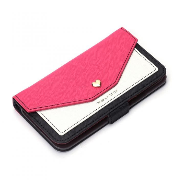 iPhone XS/X ケース Premium Style 手帳型ケース スクエア型ポケット ピンク iPhone XS/X_0