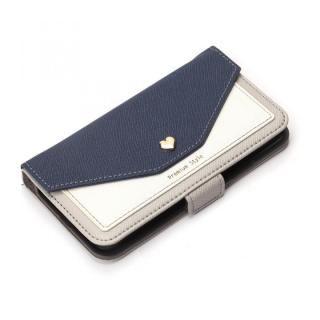 Premium Style 手帳型ケース スクエア型ポケット ネイビー iPhone XS/X