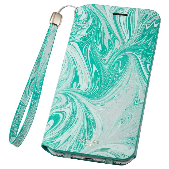 【iPhone8 Plus/7 Plusケース】GRAMAS FEMME Mab PUレザー手帳型ケース ブルー iPhone 8 Plus/7 Plus_0