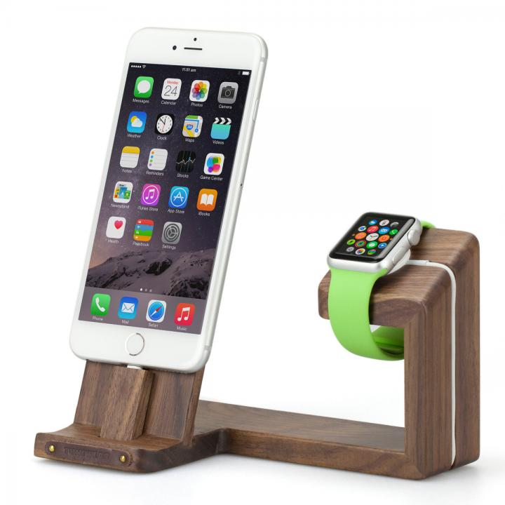 TUNEWEAR ウッド素材 Apple Watch / iPhone 充電スタンド ウォールナット_0