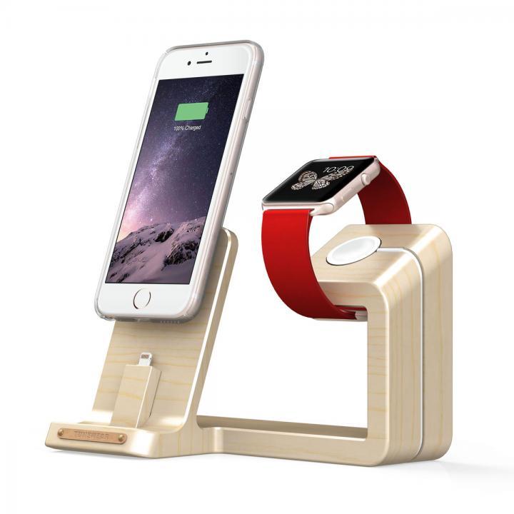 TUNEWEAR ウッド素材 Apple Watch / iPhone 充電スタンド メープル_0