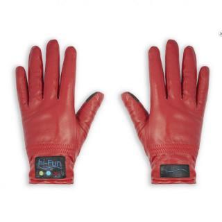 Hi-Call Bluetooth Talking Magic Glove Leather 女性用サイズM赤