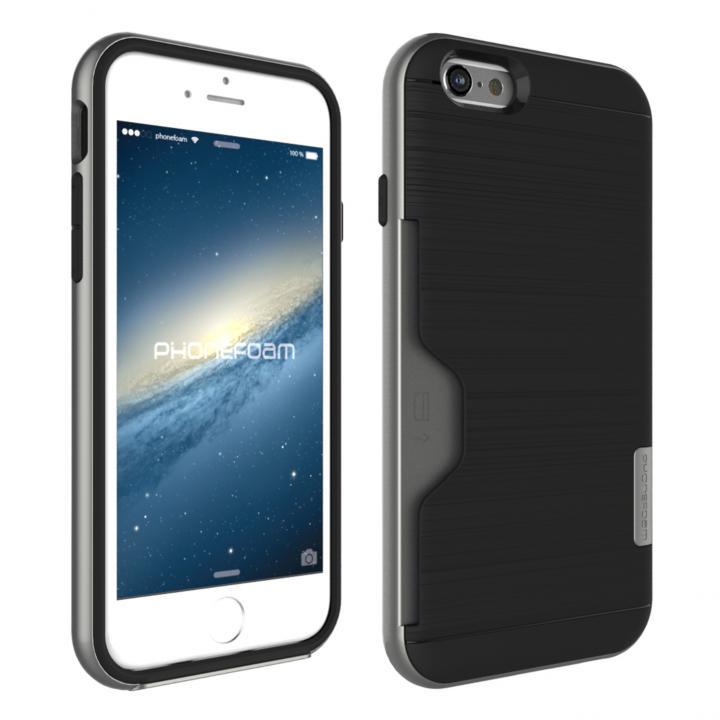 PhoneFoam LINE カード収納機能付きケース ダークシルバー iPhone 6s