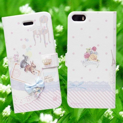 【iPhone SE/5s/5ケース】iPhone SE/5s/5 手帳型ケース Jewelry Pet - Rabbit_0
