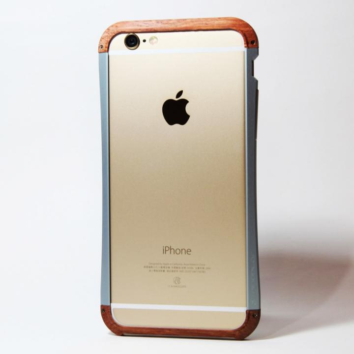 【iPhone6ケース】アルミとウッドバンパー i+CASE CRAFT チタニウム iPhone 6バンパー_0