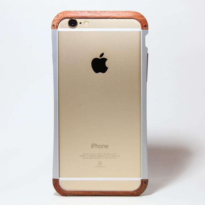 【iPhone6ケース】アルミとウッドバンパー i+CASE CRAFT シルバー iPhone 6バンパー_0