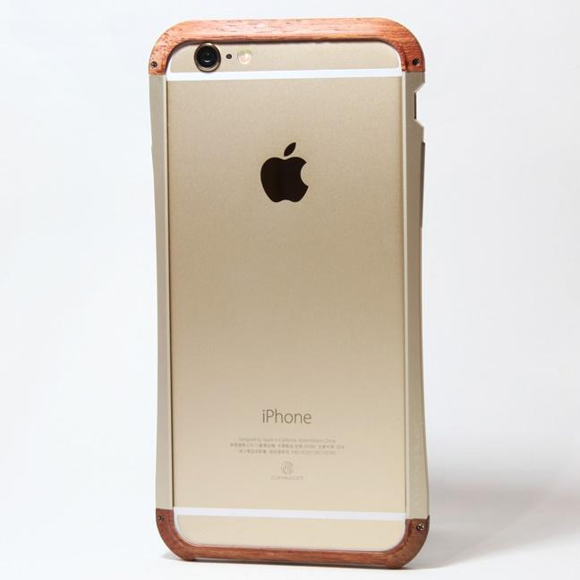 【iPhone6ケース】アルミとウッドバンパー i+CASE CRAFT ゴールド iPhone 6バンパー_0