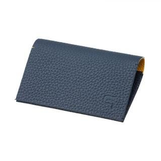 German Shrunken-calf 'HAAWASE' Card Case Navy×Yellow