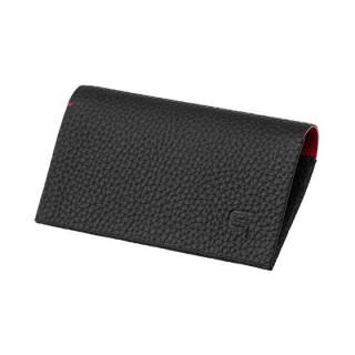 German Shrunken-calf 'HAAWASE' Card Case Black×Red