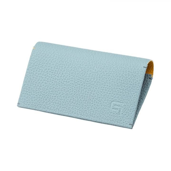 German Shrunken-calf 'HAAWASE' Card Case Baby Blue×Yellow_0