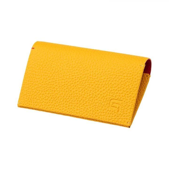 German Shrunken-calf 'HAAWASE' Card Case Yellow×Red_0