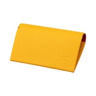 German Shrunken-calf 'HAAWASE' Card Case Yellow×Red