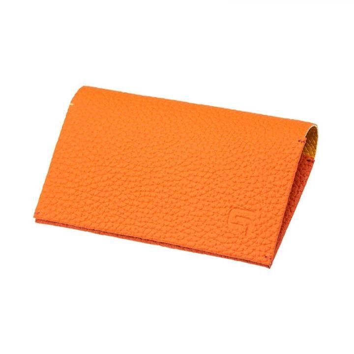 German Shrunken-calf 'HAAWASE' Card Case Orange×Yellow_0