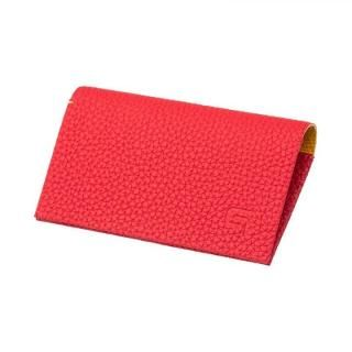 German Shrunken-calf 'HAAWASE' Card Case Red×Yellow