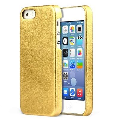 ZENUS iPhone SE/5s/5 レザー手帳型ケース 本革 ゴールド