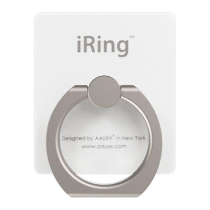 iRing アイリング  プレミアムセット 吊り下げフック付き スマホリング 落下防止リング&スタンド パールホワイト_0