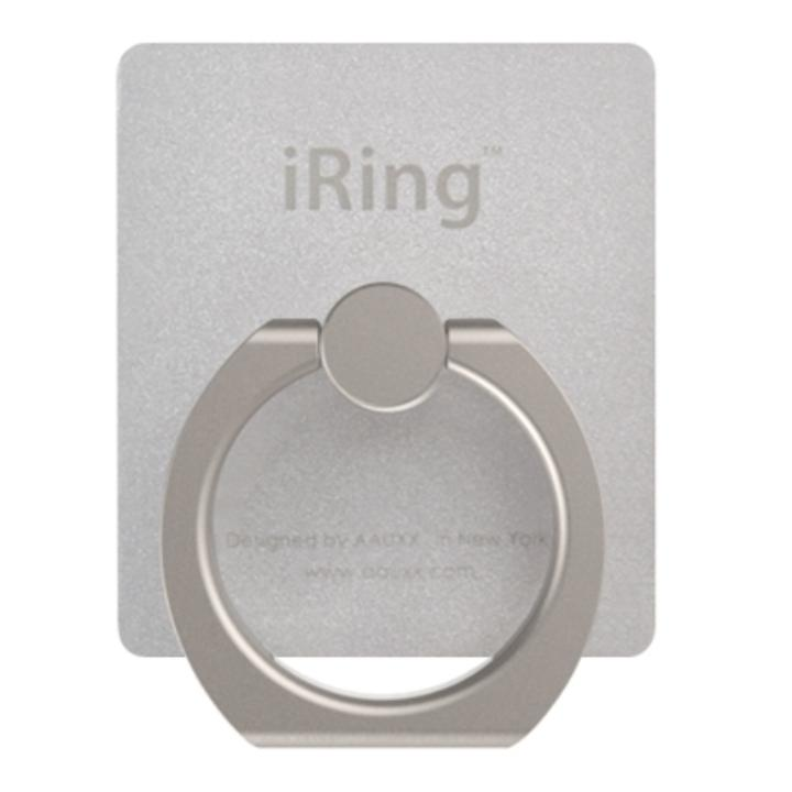 iRing アイリング  プレミアムセット 吊り下げフック付き スマホリング 落下防止リング&スタンド シルバー_0