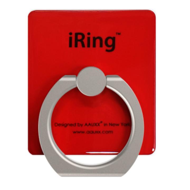 iRing アイリング  プレミアムセット 吊り下げフック付き スマホリング 落下防止リング&スタンド レッド_0