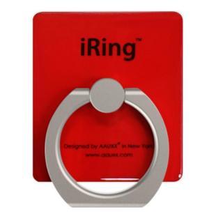 iRing アイリング  プレミアムセット 吊り下げフック付き スマホリング 落下防止リング&スタンド レッド