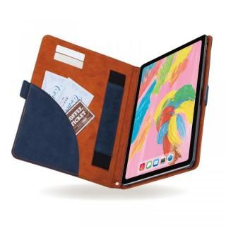 エレコム ソフトレザーカバー フリーアングル ツートン ブルー×ブラウン iPad Pro 2018 11インチ