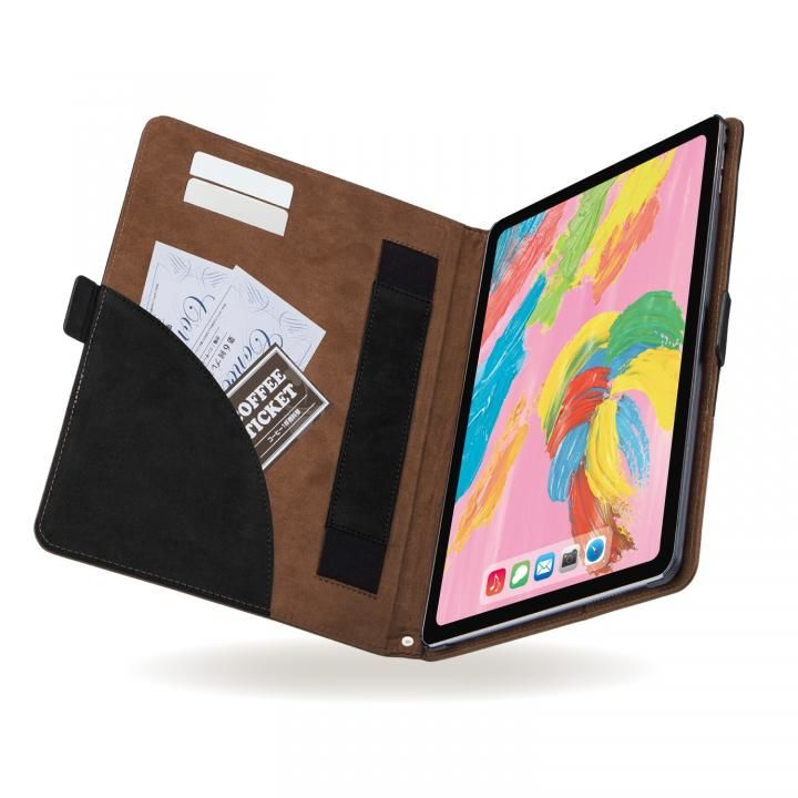 エレコム ソフトレザーカバー フリーアングル ツートン ブラック×ブラウン iPad Pro 2018 11インチ_0