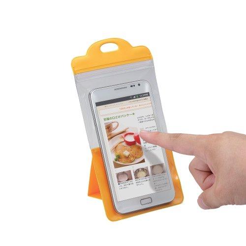 スマートフォン用防滴スタンドケース/キッチン用/5インチ対応/オレンジ