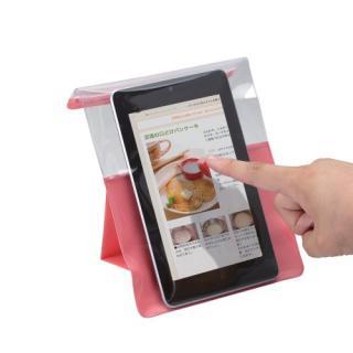 スマートフォン用防滴スタンドケース/キッチン用/7インチ対応/ピンク