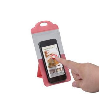スマートフォン用防滴スタンドケース/キッチン用/4インチ対応/ピンク