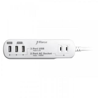 電源タップ付USB充電器 3つのUSBポート 2つのACコンセント ホワイト