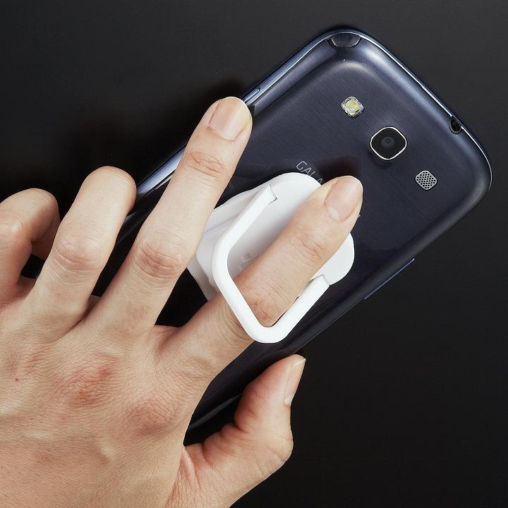 RingGrip iPhone/スマートフォン用落下防止リングホルダー ホワイト_0