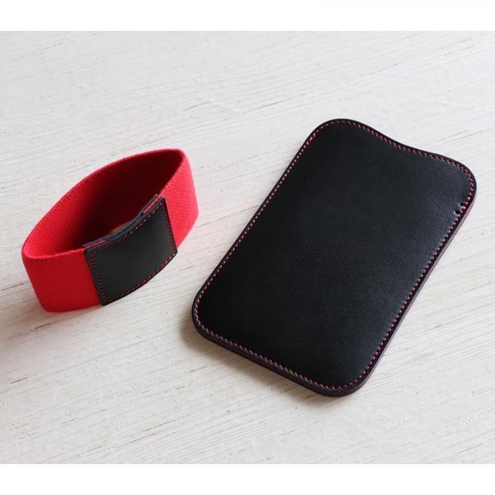 iPhone XS/X ケース 職人が作るレザースリーブ for iPhone XS/X ブラック+赤ステッチ_0