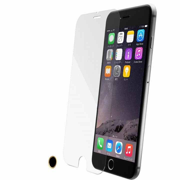 [0.33mm]スーパークリア強化ガラス TouchID対応ホームボタンシールセット iPhone 6 Plus