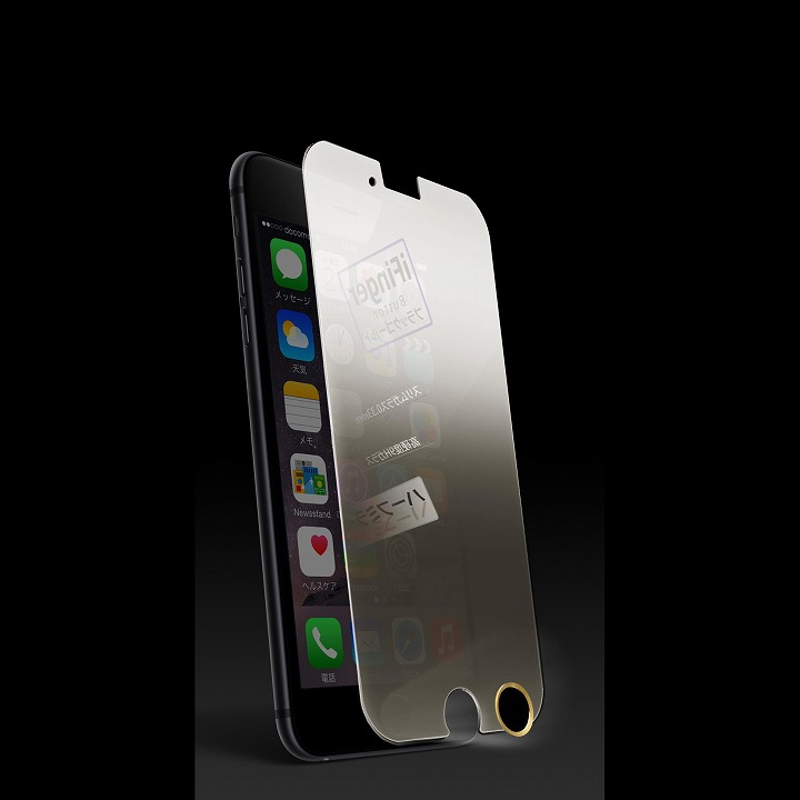 iPhone6 フィルム [0.33mm]ハーフミラー強化ガラス TouchID対応ホームボタンシールセット iPhone 6_0