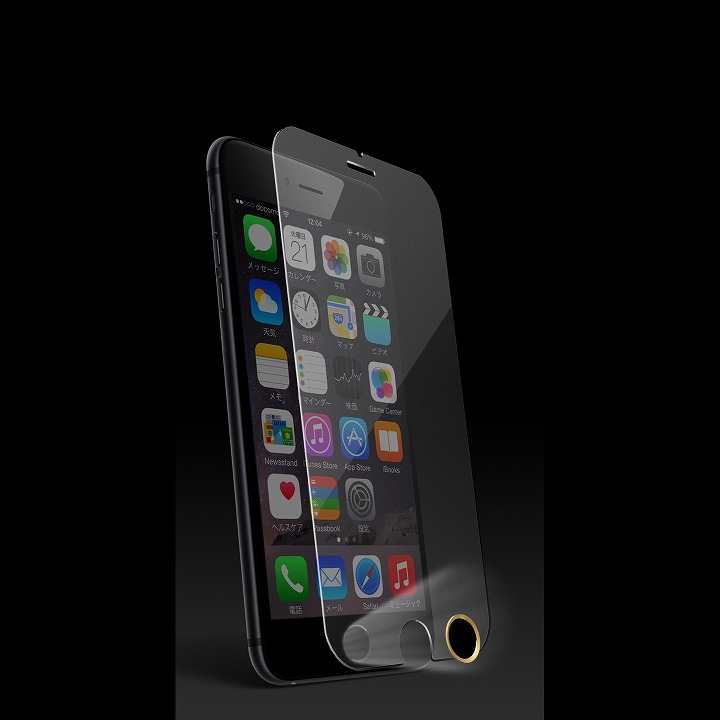 iPhone6 フィルム [0.33mm]スーパークリア強化ガラス TouchID対応ホームボタンシールセット iPhone 6_0