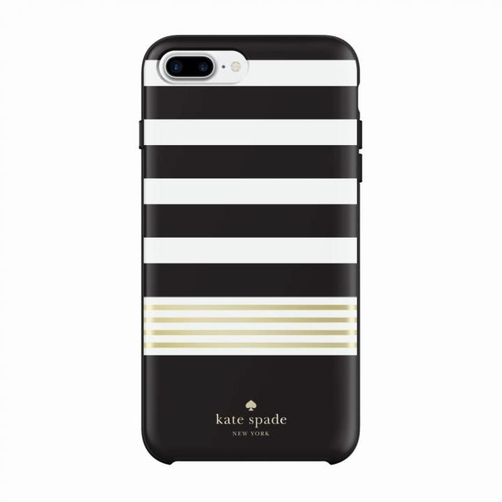 kate spade new york ハードケース Stripe2 Black/White/Gold iPhone 8 Plus/7 Plus