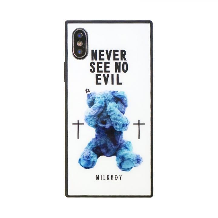 iPhone XS/X ケース MILKBOY 背面ガラスケース SEE NO EVILBEARS ホワイト iPhone XS/X_0
