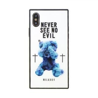 【iPhone XS/Xケース】MILKBOY 背面ガラスケース SEE NO EVILBEARS ホワイト iPhone XS/X【11月下旬】